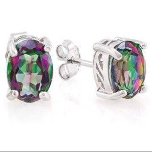 Natural Mystic Gemstone Stud 925 Silver Earrings